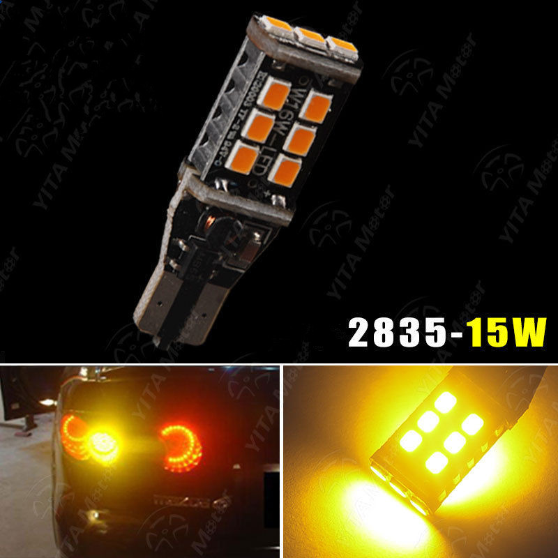 <font><b>T15</b></font>/T10 912 W16W WY16W 15 SMD 2835 <font><b>LED</b></font> Auto Brake <font><b>Lamp</b></font> <font><b>Car</b></font> Backup Reverse Lights Direction Indicator Bulb Amber image