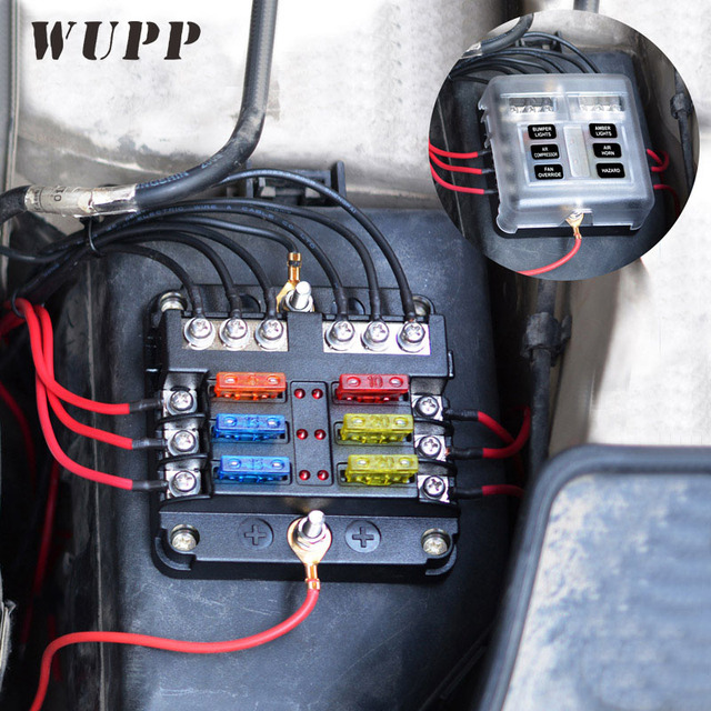 wupp independent car fuse holder pbt pc fuse box fog lights car headlight  refrigerator charger fan