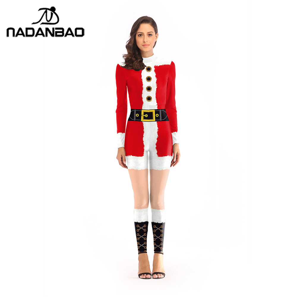 7c8d6379991d9 NADANBAO Belt Printed Jumpsuit Christmas Costume Cosplay Fastener Costumes  For Women Plus Size Sexy Bodysuit