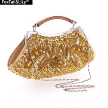 2016 damen Pailletten Abendtaschen mit Kette tasche frauen Perlen Bankett Handtasche Kupplung Weiblich 7 Farbe Luxus Hochzeit taschen