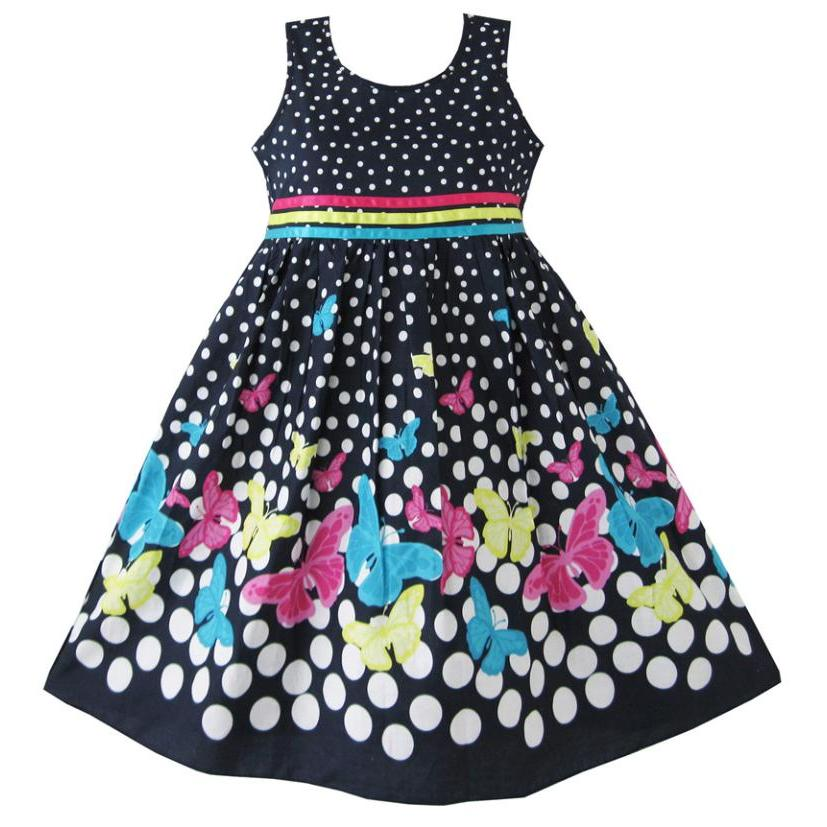 Girls Dress Navy Blue Butterfly Party Princess Child Clothes Cotton 2018 Summer Wedding Dresses Kids Clothes Size 4-12 Pageant kinston artistic girl figure pattern pu plastic case w stand for iphone 6 plus multicolored