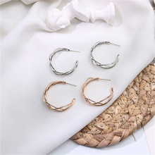 Europe America Hyperbolic Vintage INS Anti-allergy Twining Round Circle Simple Hoop Earrings Fashion Jewelry-LAF