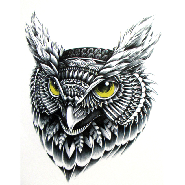 Vol Owltemporary De Tatouage Peint A La Main Realiste Hibou