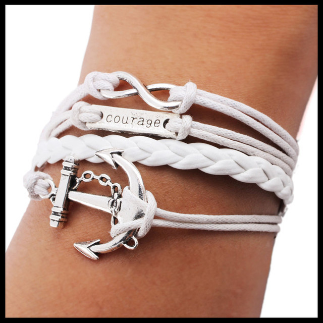 Womens Mens Carved Courage Antique Silver Plated Alloy Anchor Infinity Bracelet White Leather Rope Braided Wax