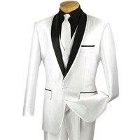 Custom Made Men S White 3pc Sharkskin Tuxedo Suit W Sateen Lapel Trim NEW Prom Wedding