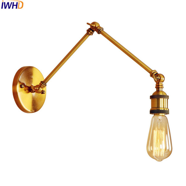 Iwhd adjustable long arm gold wall lamp vintage edison style iwhd adjustable long arm gold wall lamp vintage edison style lighting loft retro wall lights fixtures aloadofball Image collections