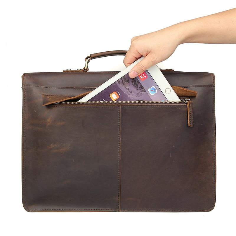 Nesitu, высокое качество, винтажный коричневый, толстый, натуральная, Crazy Horse, кожа, 14 дюймов, для ноутбука, мужской портфель, портфель, мужская сумка, M7223 - 4