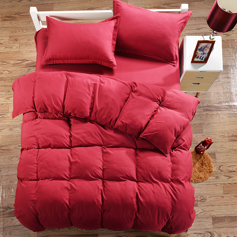 Burgundy Color Duvet Cover Set Single Double Bed Bedding Sets Twin Full Queen Size Polyester Bedding Linen XF354-2