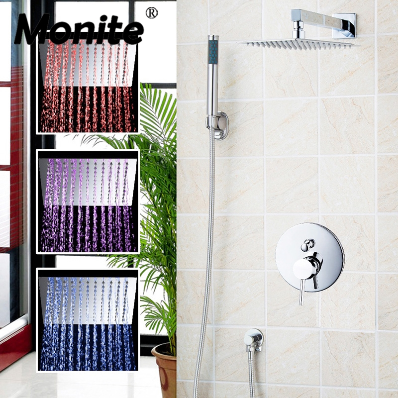 Luxury LED Chrome Rain Shower Head Arm Set Faucet Bathroom Wall Mounted With the Head And Hand Sprayer Shower Sets luxury led bathroom shower head faucet chrome brass rain waterfall shower set faucet wall mounted with abs hand shower