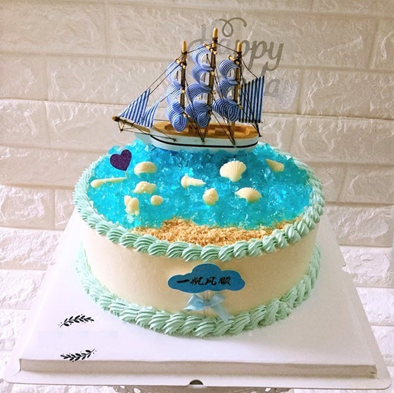 Decoration Boat Cake Topper Toys For Baby Kids Children Party Supplies 18 Years Birthday Decorative Wooden Boats Doll