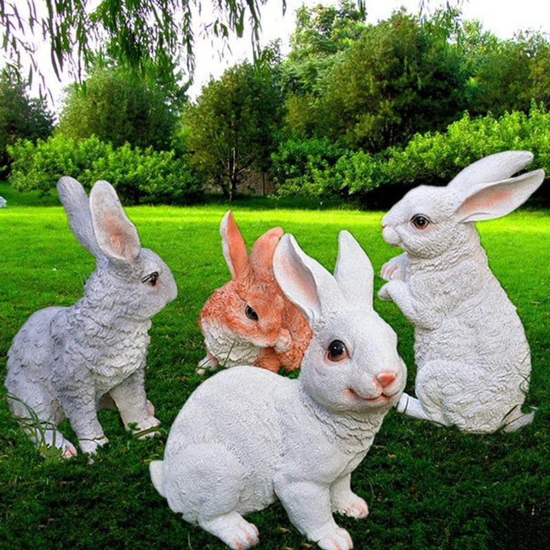 €30.64 5% de réduction Décoration de jardin résine lapins Sculptures  animaux artificiels Statue artisanat lapin Figurines jardin pelouse  décor-in ...