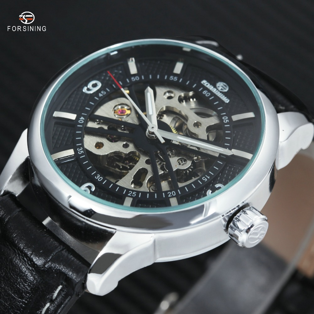 WINNER Top Luxury Men Women Automatic Watch Mechanical Skeleton Dial Lover's Wristwatch Genuine Leather Band Best Gift for Lover winner men fashion cool black automatic mechanical watch rubber strap skeleton dial automatic dial design sport style wristwatch