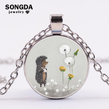 SONGDA Vintage Hedgehog In The Fog Long Necklace Women Girls Gift Anime Film Cute Poster Printed Glass Cabochon Pendant Necklace(China)