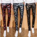 2016 New Arrive Men's Skinny Camo Leather Pants Casual Fashion Camouflage Cool Jeans Size:28-33 Free Shipping
