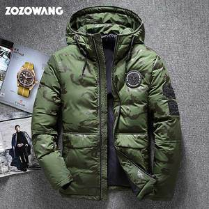 ZOZOWANG Высококачественная Мужская зимняя куртка, толстая зимняя парка, пальто, белый пуховик на утином пуху, мужское ветрозащитное пуховое па...