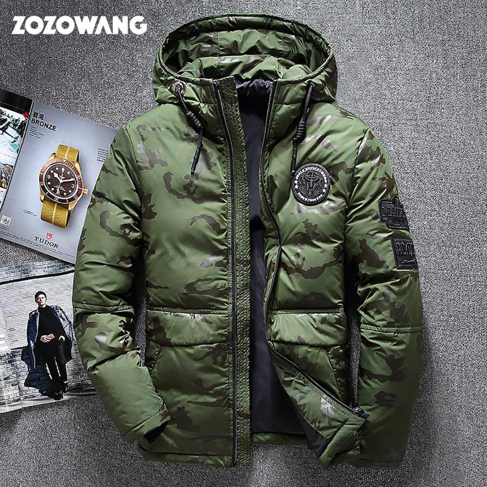 ZOZOWANG neve parka casaco jaqueta de inverno dos homens de Alta qualidade grosso disjuntor de vento para baixo casaco de pato branco para baixo homens jaqueta tamanho 4XL