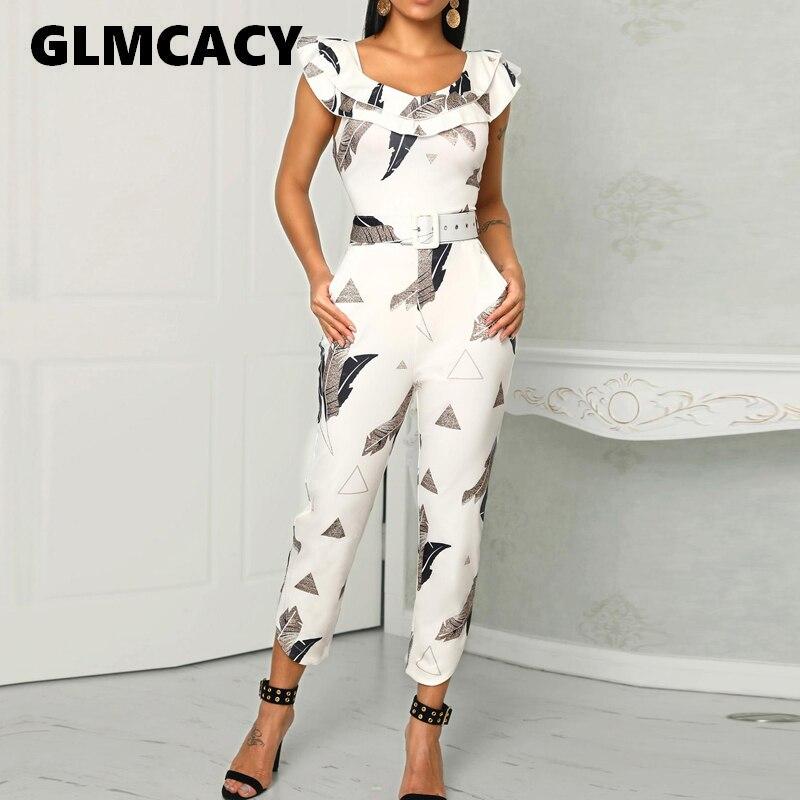 Women Summer Elegant Sleeveless V-Neck Casual Jumpsuit Slim Fit Leaf Print Layered Ruffle Split Leg Jumpsuit Workwear