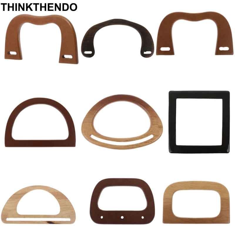 1 Pcs M / D / Square Shape Wooden Bag Handle Replacement For DIY Shoulder Bag Making Handbag Tool