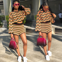 2019 New Women African Clothing Traditional Clothing Wavy Stripe Print Top Shorts 2 Piece Set African Dashiki African Clothes