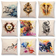 Animals Watercolor Art Painting Throw Pillow Cases