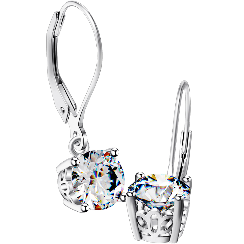 Wholesale 2 02ct SONA Diamond Earrings Hooked Sterling Silver Anti allergic Earring White Gold Plated Dangle