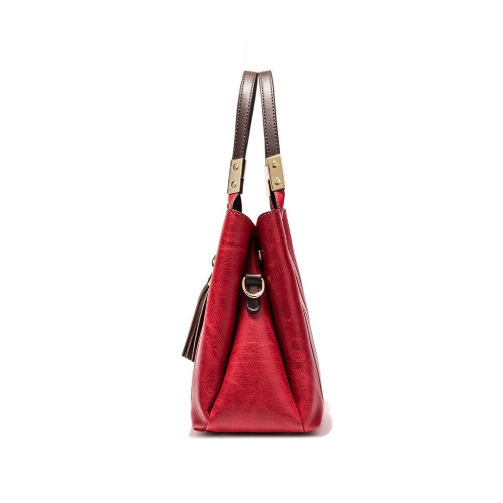 MIYACO Vintage femmes sac à main de luxe femme sac à bandoulière Messenger sac fourre-tout haut en cuir sacs à main avec gland renard sac à main - 4