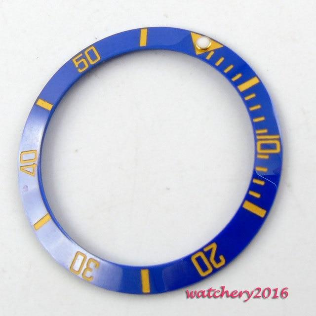 Newest Hot 39.8mm luminous marks blue ceramic bezel insert watch fit automatic movement Mens watch bezel replacement parts