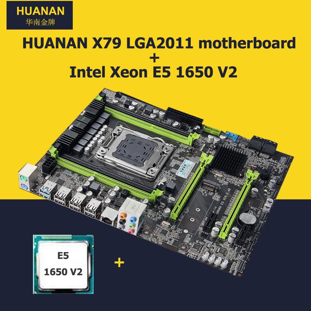 Remise carte mère HUANAN ZHI X79 carte mère avec M.2 slot SATA3.0 carte mère avec uc Xeon E5 1650 V2 3.5 GHz SR1AQ