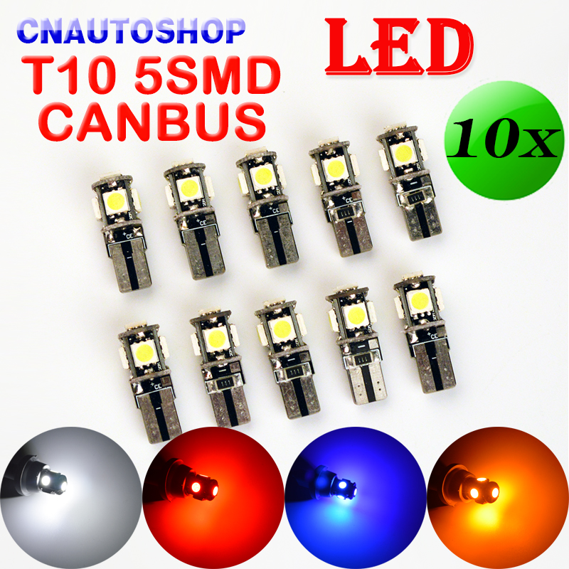 flytop 10 x T10 CANBUS 5SMD 5050 SMD Error Free Car Bulb W5W 194 LED Lamp Auto Rear Light White Blue Yellow Red Color CAN BUS 10pcs led car interior bulb canbus error free t10 white 5730 8smd led 12v car side wedge light white lamp auto bulb car styling