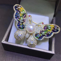 Enamel colorful butterfly brooch natural freshwater pearl brooch copper micro set zircon coat accessories