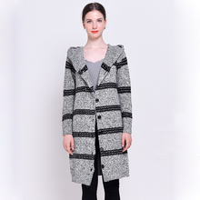 HSPL Long Knitted Women Cardigan Hooded For 2017 Autumn Long Sleeve Female Sweater Ladies Striped Knitting Casual Cheap Jumper