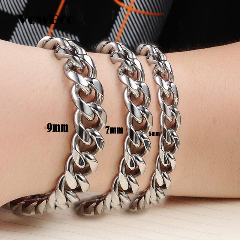 Women Bracelets Link-Chain Polishing Cuban Good-Quality Stainless-Steel Hand-Man Vowbro