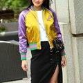 Nueva Llegada de Las Mujeres del Gato Lindo Abrigo Bordado Mujeres Bomber Jacket Coat Pilotos Harajuku prendas de Vestir Exteriores de la Chaqueta Chaqueta Informal