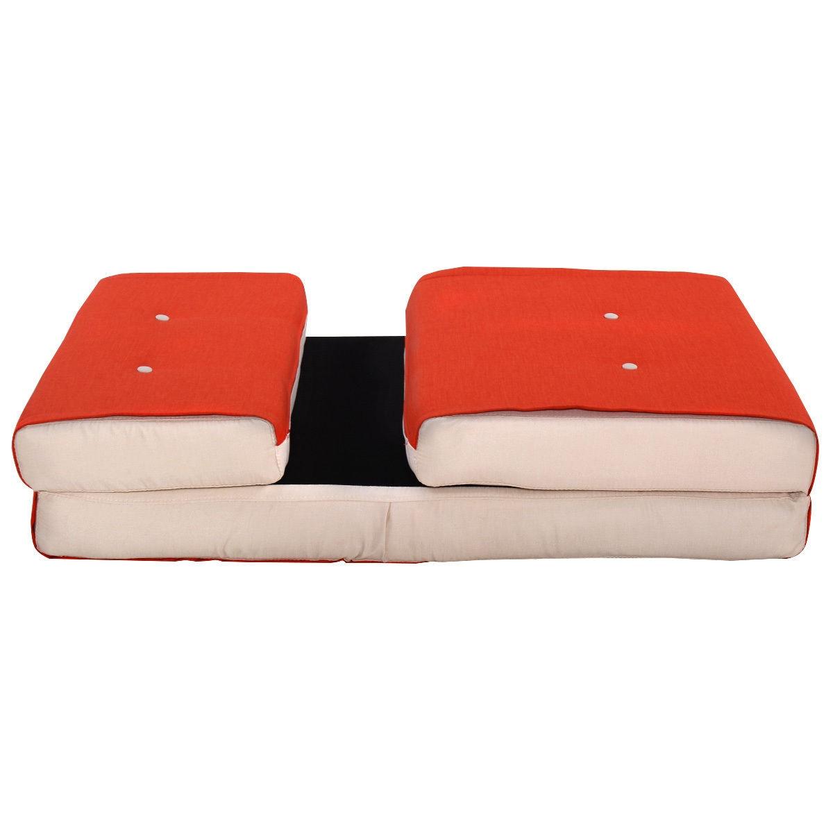 Giantex Folding Sofa Bed Modern Convertible Split Back Linen Futon ...