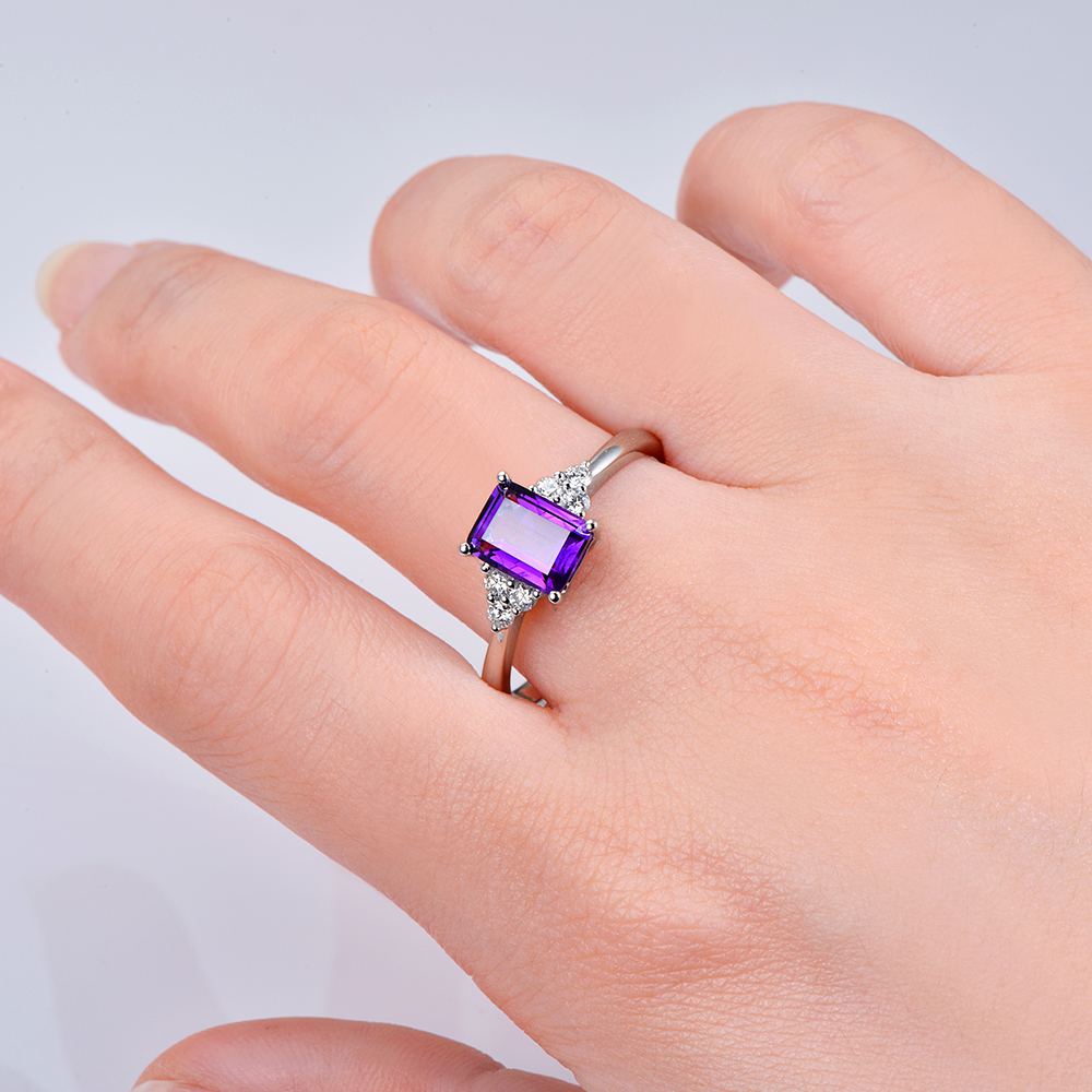 Caimao Jewelry 1.43ct Amethyst 14kt Gold 0.21ct Natural Diamond ...