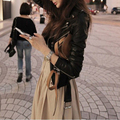 2016 New Fashion PU Leather Black Women Jacket Locomotive Suit Long Sleeves Autumn and Spring Jackets In Stock Hot Sale 0857