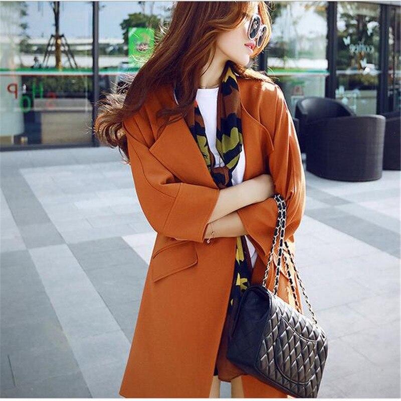 Manteau Haut Black Moyen Printemps Mode De Q510 Lâche Col Dernière Slim Couleur Grands orange Automne Long Pure Gamme Rond Femmes gray 2017 Chantiers 5ORx8qpCaw