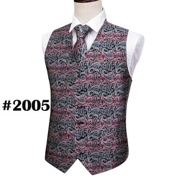 Designer Mens Classic Black Paisley Jacquard Folral Silk Waistcoat Vests Handkerchief Tie Vest Suit Pocket Square Set Barry.Wang 24
