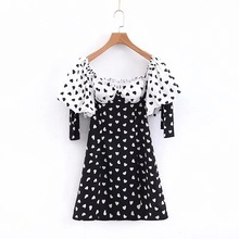 Vintage Palace Style Sexy  Off Shoulder Dress Women Heart Print Puff Sleeve Strapless A-line Mini Summer