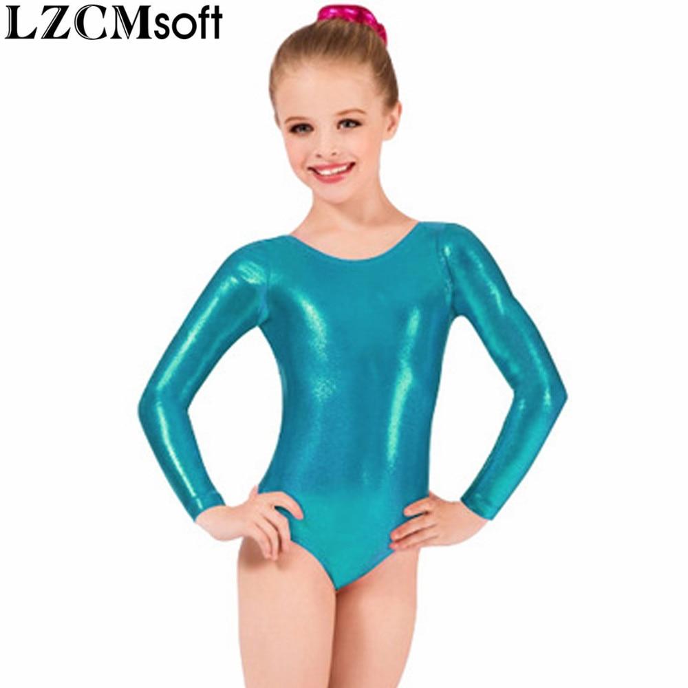 d944275cb403 LZCMsoft Girls Long Sleeve Silver Leotards Shiny Metallic Gymnastics ...