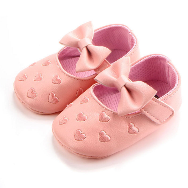 Baby girl princess spotted shoes Love and bow Spring and Autumn Toddler shoes Bow pattern First walk Shoes 2xz4