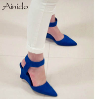 Women Wedges Fashion Ankle Hook Loop Pointed Toe Pumps Sexy Sandal High Heels Black Blue Orange