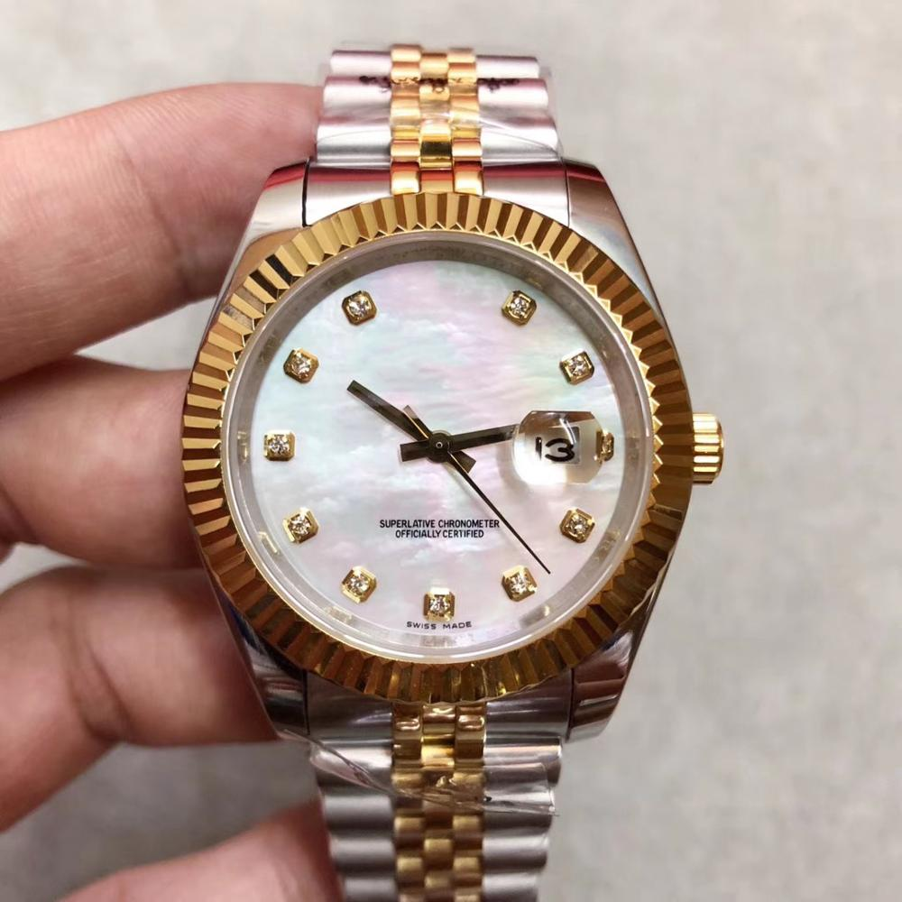 2019 Two Tone Color Gold Pearl surface Presidential strap DateJust 41mm WaterProof 10m diamond Mechanical Wristwatches2019 Two Tone Color Gold Pearl surface Presidential strap DateJust 41mm WaterProof 10m diamond Mechanical Wristwatches