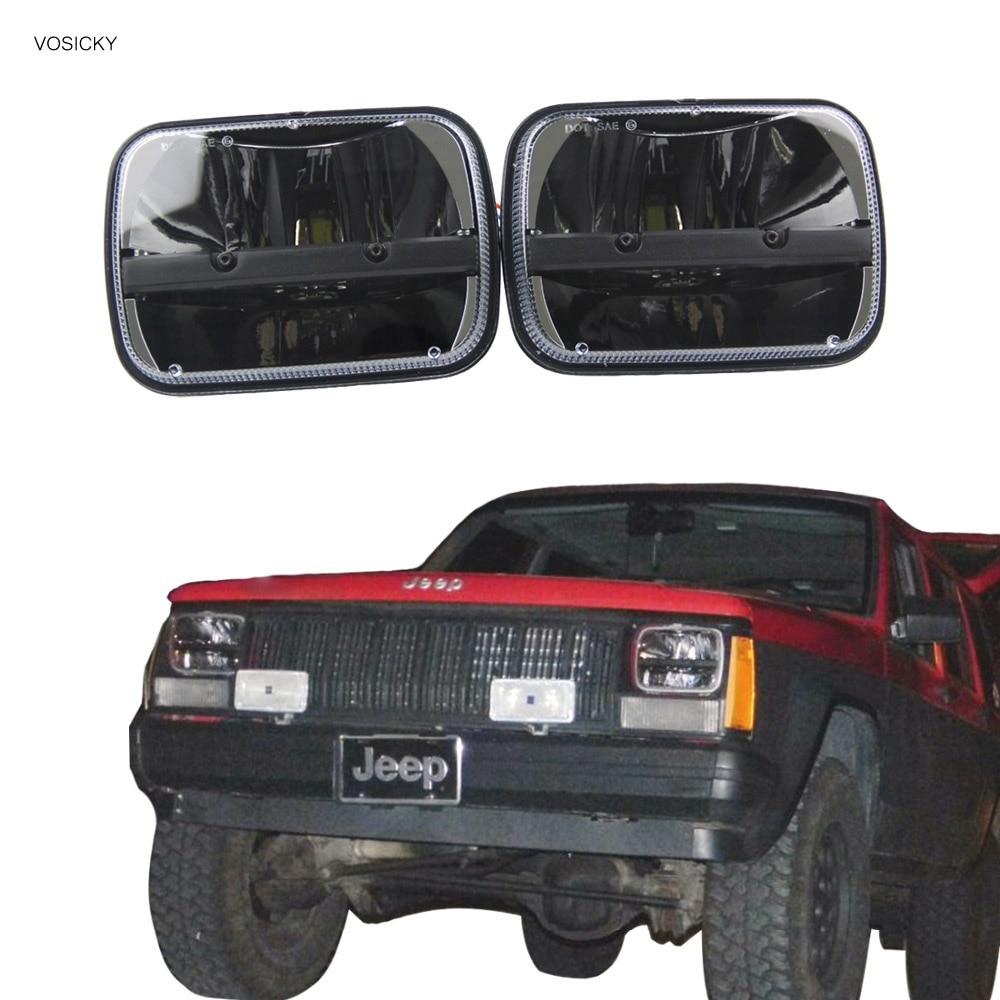 5''x 7'' Inch Square Daymaker 5x7 led headlight trucklight High Low Beam for jk Wrangler YJ Cherokee XJ Trucks 4X4 Offroad czg 5755 55w led high power 5x7 led headlight with hi low beam angel eye for jeep trucks offroad 7 led work head lamps e9 mark