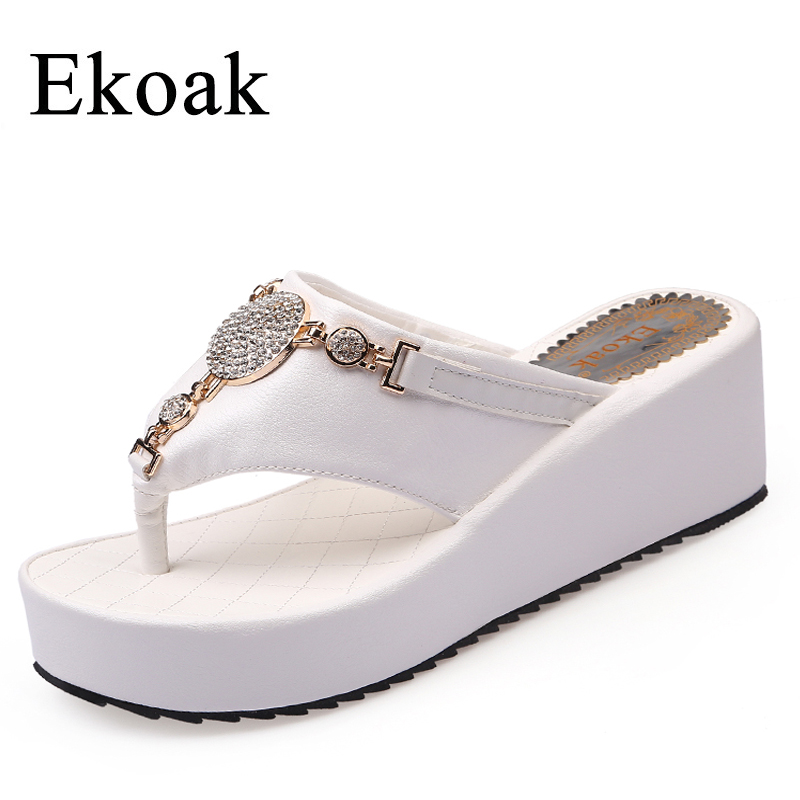 Ekoak New 2017 Fashion Women Flip Flops Summer Wedges Platform Shoes Woman Sandals Ladies Sexy Crystal Beach Slippers flip flops women summer slippers striped pattern indoor outdoor beach flip flops shoes women ladies wedges platform flip flops zapatos
