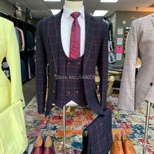 2019 Fashion Business Plaid Designs Men Suit Tailor Made Groom Tuxedos Wedding 3 Piece Sui