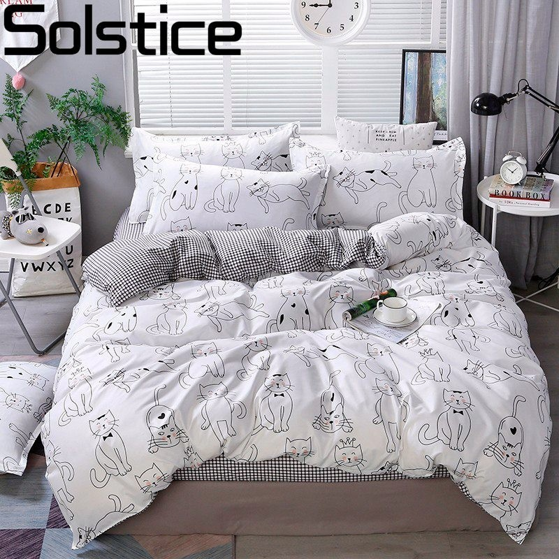 Solstice Pillowcase Bedding Duvet-Cover-Set Bed-Set Linens Super-King Cotton Fashion