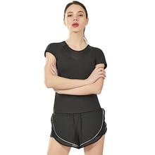купить Quick Dry Stretch Slim Fit Yoga Tops Sport T Shirt Women Gym For Fitness Shirt Yoga Running T-shirts Female Sports Top Cloth дешево