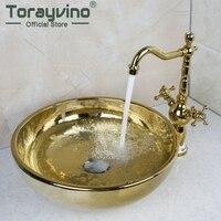 Torayvino Роскошные Ванная комната кран круглый золотой шар судна раковины умывальник Керамика умывальник + смеситель множество