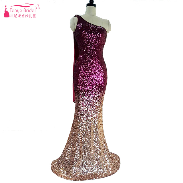 Two Tone Sequined Prom Dresses One Shoulder Mermaid Elegant Long ...
